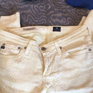 AG yellow reptile print jeans